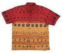 No Boundaries Shirt XL Hawaiian Polynesian Tiki Button Front Short Sleeve Cotton