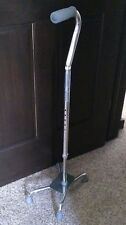 Medline Quad Walking Aid Cane Height Adjustable Aluminum Stability Support