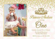 Princess Birthday Invitation, First, One, 1st Birthday, Girl, Pink, Gold