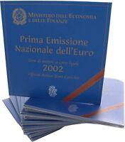 10 x Italien Euro 2002 KMS 1 Cent bis 2 Euro Kursmünzensatz Stempelglanz im Fold