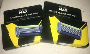 2 x prowin MAX RAZOR BLADES FOR MEN 3 Stück, 6-Fach-Klinge + Trimmer, neu + OVP
