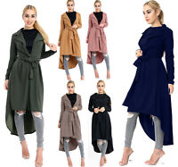 Womens Ladies Casual Modest Long Sleeve Dip Hem Belted Duster Tail Coat Jacket