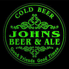 4x ccqs1614-g JOHNS Beer & Ale Cold Beer Bar Engraved Coasters