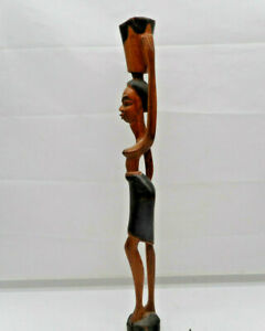 "Mahagoni Holz Figur – Deko ""Afrikanische Stammes Frau - Trägerin"" Handarbeit"