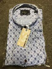 Remus Uomo Slim Paisley Shirt/Blue  - XXL SRP £55.00 - UNOPENED