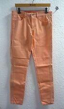 Jean Slim ♥ ESPRIT ♥ Taille 40 42 pantalon avec simili cuir saumon W32 Femme