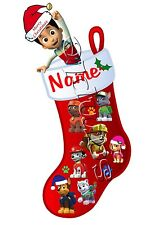 IRON ON TRANSFER PERSONALISED PAW PATROL STOCKING MERRY CHRISTMAS skye chase