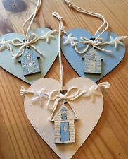 Nautical Seaside Beach Huts Hanging Decorations X 3 Shabby Chic Wood Heart Blue