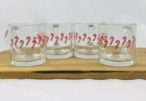 Vintage Clear Glass Coffee Cup Mug Christmas Holiday Candycanes Lot of 4