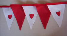 Fabric MINI Bunting Valentine's Day Gift decoration 2 mt Red & White hearts