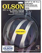 "Olson Hard Back Metal Cutting Band Saw Blade 64-1/2"" inch x 1/2"", 18TPI, USA"
