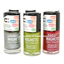 Santee 3 pcs Magnetic Whiter Silver, Green, Fuschia Nail Polish Bold Lacquer