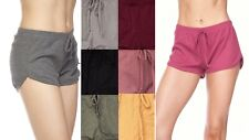 New Womens Sexy Comfortable Solid Casual Ribbed Drawstring Shorts