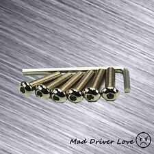 ROUND HEAD HEX STEERING WHEEL SCREW 6PC BOLT 22.7mm KIT W/ ALLEN WRENCH CHROME