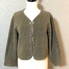 Vtg 90's SUMMIT DOG Womens M  Washable Wool FLEECE Sweater Crop Metal Clasps Top