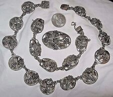 Necklace Bracelet Pin Set Roses Flowers Signed Hobe Sterling Silver & Gold Fill