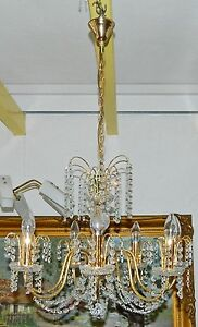 Kronleuchter Hängelampe Kristallanhänger Glas goldfarbig Messing 7-flammig