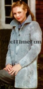 Knitting Pattern Ladies Classic Cable/Aran Jacket/Coat/Cardigan With Collar.