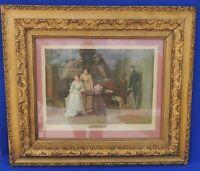 """Vintage Large 30"""" Sydney Kendrick """"The Love Letter"""" Ornate Gold Wood Frame #4934"""