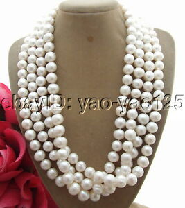 """Natural 4 Strands 9-10MM Freshwater White Pearl Necklace 20"""" free shipping"""