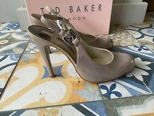 Ted Baker Jorja Beige Patent Leather Slingback High Stiletto Heels UK 7 EU 40