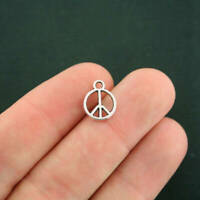 20 Peace Sign Charms Antique Silver Tone 2 Sided - SC4452
