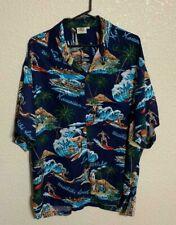 Pineapple Moon Hawaiian SS Shirt Navy Blue Surfing Canoes Surfboards Surfers XL