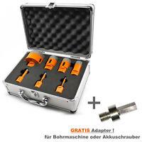 7-tlg Alu Koffer Set M14 Diamantbohrer Bohrkrone  Ø 6 - 68 mm Naturstein Granit