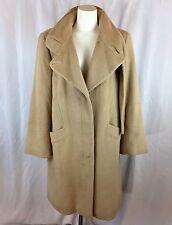 HILARY RADLEY Soft Angora Wool blend lined camel tan coat scarf detail size 12