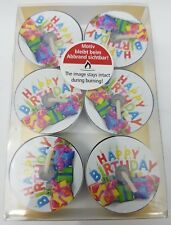 Pack of Six Unique Happy Birthday Quality Tealights by PapStar Germany