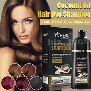 New Mokeru Natural Permanent Instant Hair Dye Color Shampoo Coconut Oil Essence