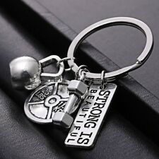 Silver STRONG IS BEAUTIFUL Fitness Weightlifting Gym CrossFit Keychain Key ring