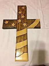 HANDMADE Rustic wooden Religious american flag cross wall Decoration Great gift