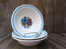 Nikko Ironstone Montage Floral Blue Band Cereal, Dessert Bowls Set Of 3