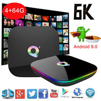 2019 6K Q Plus Android 9.0 4+64GB Smart TV Box Quad Core WIFI USB 3D Films Media
