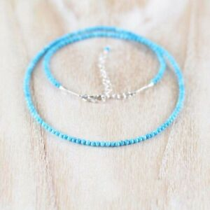 """Excellent Sleeping Beauty Turquoise 3MM Rondelle Faceted Gemstone Necklace 18"""""""