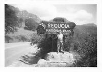 TOURIST PORTRAIT AT SEQUOIA NATIONAL PARK  Vintage FOUND PHOTO Original 06 12 J
