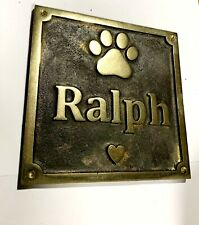 Cast Bronze Personalised Pet Memorial Plaque - with embossed paw print & text