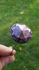 Vintage Hatpin Carnival Glass Black Amethyst Pinwheel Pattern