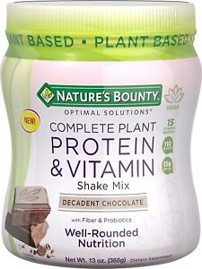Complete Plant Protein & Vitamin Shake Mix by Nature's Bounty Optimal...