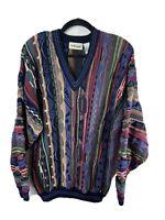 Golfsmith Sweater Vintage Men Size Large 100% Cotton Biggie Cosby Coogie V-Neck