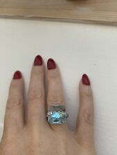 Diamond & White Gold Blue Topaz Briolette Ring HL Brown Hallmarked BNIB+receipt