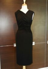 NWT Narciso Rodriguez Sz 42/ 6 Black Ruched Draped Jersey Dress LBD Midi Length