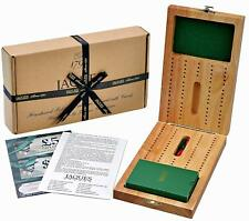 Jaques Hardwood Folding Cribbage Board With Luxury Playing Cards Pins