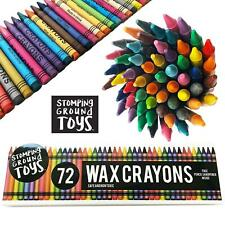 72x Coloured Wax Crayons - Childrens Assorted Colouring School Activities Crafts