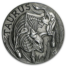 1 oz Silver Antique Round - Zodiac Skull Series (Taurus) - SKU #90565