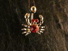 Bauchnabel Piercing Krebs 24 Karat Gold Anhänger Steine Rot Krabbe Tier Meer