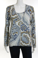 Escada Sport Blue Abstract Print Cashmere Twinset Size Large