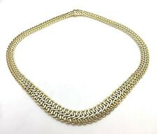Sadufa Italian 18k Yellow Gold Fancy Weave Graduated Necklace