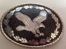 Vtg USA Soaring Eagle Silver & black Flowers & Leaves Belt Buckle W Logo